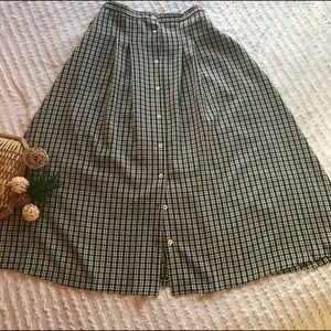 Vintage Black and White Long Button Down Skirt